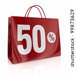 one shopping bag with the number fifty and the percent symbol (3d render) - stock photo