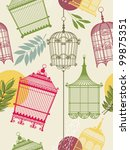 Vintage Pattern With Birdcages...