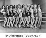 line of female dancers | Shutterstock . vector #99897614
