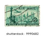 Old postage stamp from USA 15 cents - stock photo