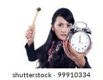 Angry Business Woman Smashing...