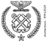 Doodle style military insignia for the US Navy including crossed anchors and wreath - stock vector