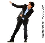 Business man pulling a rope - isolated over a white background - stock photo