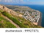 village and beach of kamari at... | Shutterstock . vector #99927371