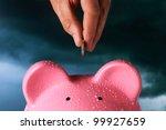 saving for a rainy day piggy... | Shutterstock . vector #99927659