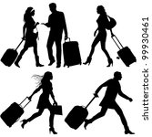 people in hurry  on airport  ... | Shutterstock .eps vector #99930461