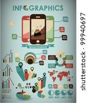 retro vector set of infographic ... | Shutterstock .eps vector #99940697
