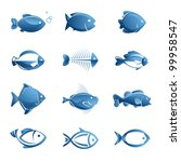 set of vector fish icons | Shutterstock .eps vector #99958547
