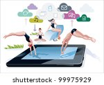 a boy and a girl diving at the... | Shutterstock .eps vector #99975929