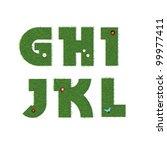 grass alphabet | Shutterstock .eps vector #99977411