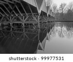 Interior of a historic boathouse at a dutch lake - stock photo