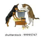 Stock photo pot watcher dog and cat are cooking 99995747