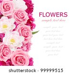 Stock photo flowers background with peonies tulips and roses isolated on white with sample text 99999515