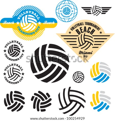 volleyball sign icon set