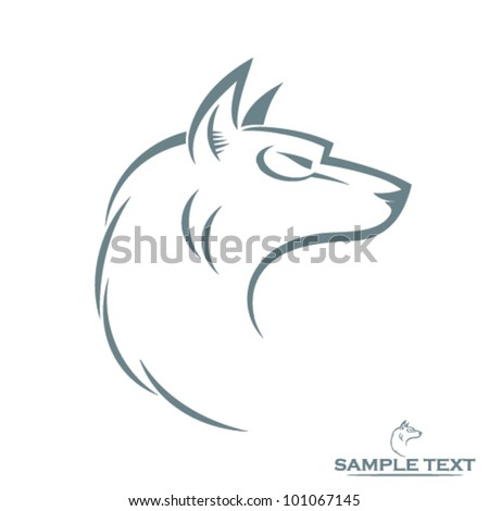 isolated wolf head   vector