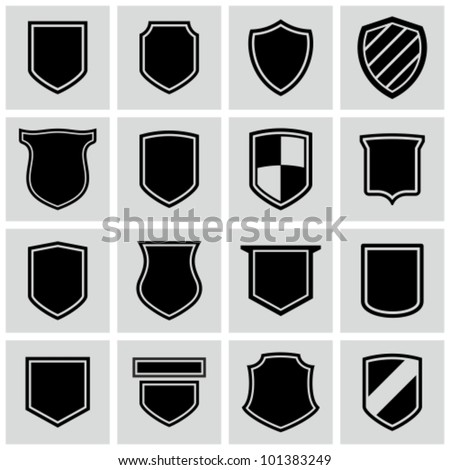 shield frames icons set