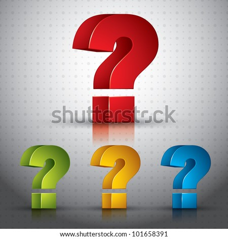 3d question mark vector icon