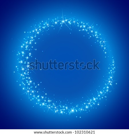 circle of stars blue abstract