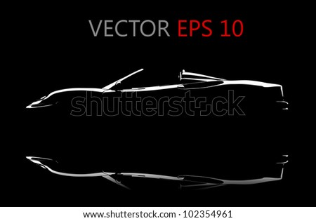 a vector black car reflection