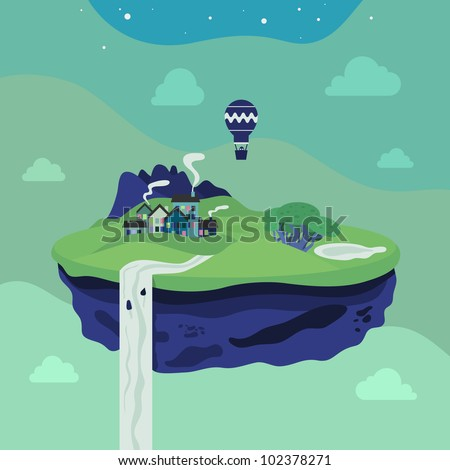 fantasy flying island vector
