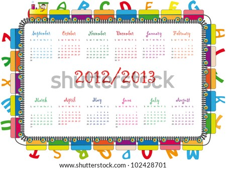 colorful school calendar on new