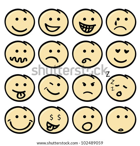 cute face icons for children