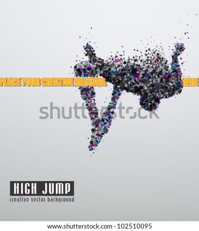 high jump creative vector