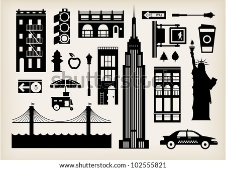 vector set of new york city