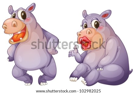 illustration of 2 female hippos