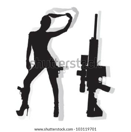 beauty bad girl with weapons