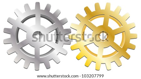 two gears on  white background