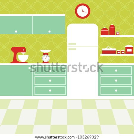 retro green kitchen with white