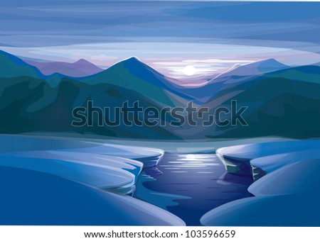 vector of winter sunset