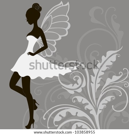 silhouette of young beautiful