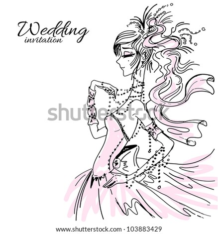 wedding invitation  bride in