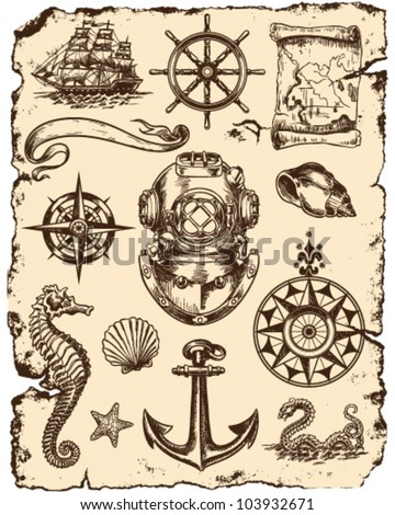 nautical vector illustration set