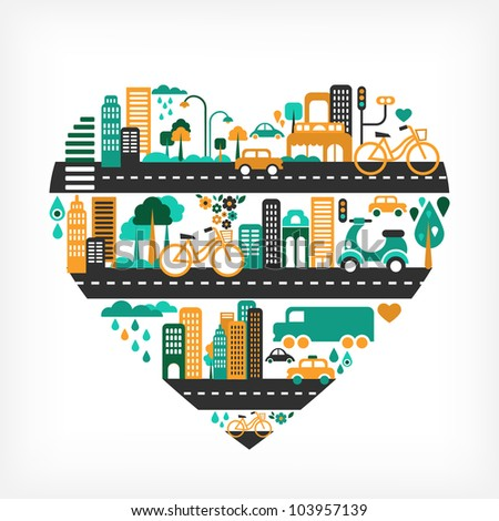 city love   heart shape with