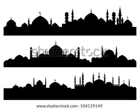 muslim cityscapes isolated on