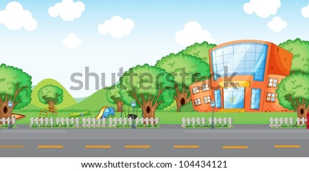 illustration of empty yard and