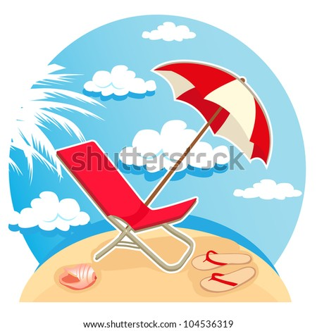 vector illustration of parasol