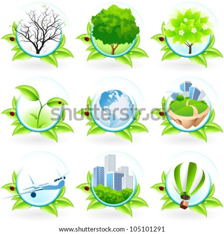 green icon set isolated on white