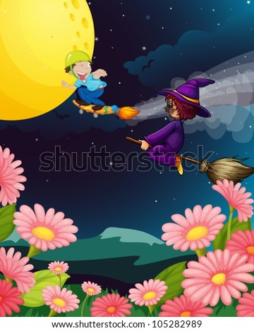illustration of a boy and witch