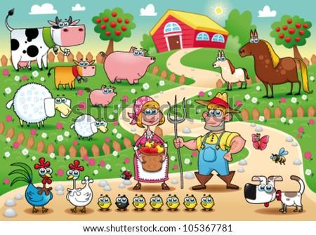 funny farm family cartoon and