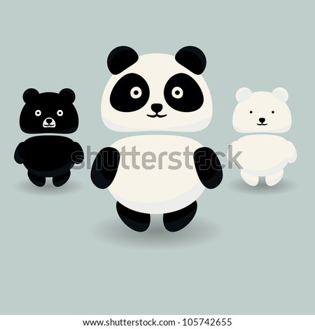 panda bear  brown bear and