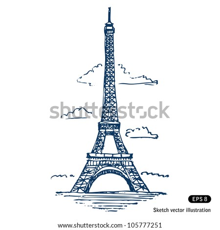 eiffel tower in paris hand