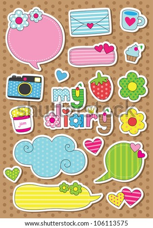 cute scrapbook elements vector