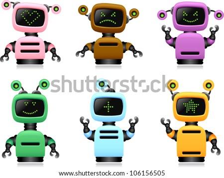 vector colorful cute robots set