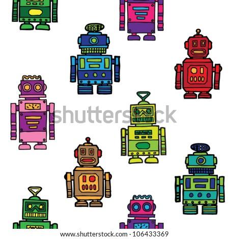 seamless vintage toy robots