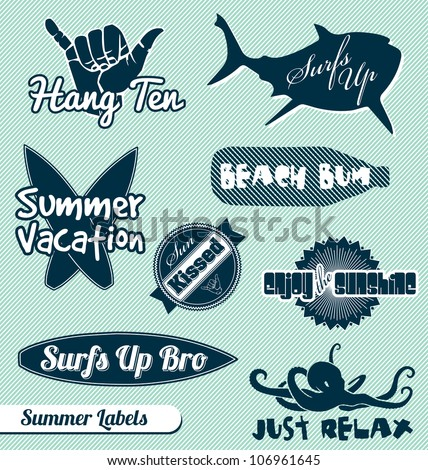 vector set  summer beach labels