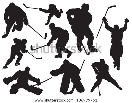 vector silhouettes hockey